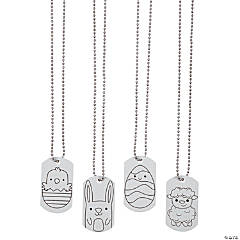 Color Your Own Easter Character Dog Tag Necklaces