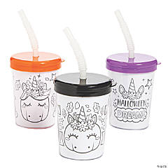 Color Your Own Halloween Unicorn Pumpkin Cups with Lids & Straws
