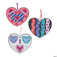 Color Your Own Heart Cross Stitch Ornaments