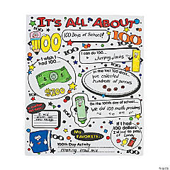 Color Your Own! It's All About 100th Day of School of School Poster Set