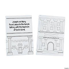 Color Your Own Jesus at the Temple Sticker Scenes