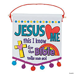 Color Your Own Jesus Loves Me Banners with Pom-Pom Trim