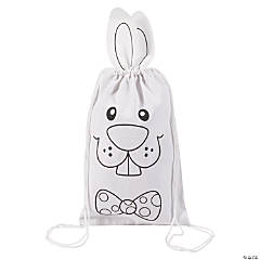 Color Your Own Medium Bunny Canvas Drawstring Bags