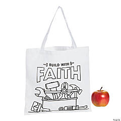Color Your Own Medium Construction VBS Canvas Tote Bags
