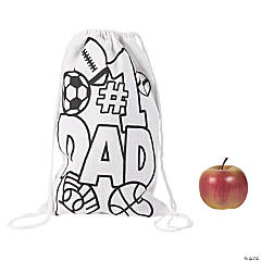 Color Your Own Medium Father's Day Canvas Drawstring Bags