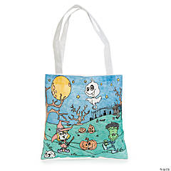 Color Your Own Medium Goofy Goblins Halloween Tote Bags