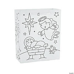 Color Your Own Medium Nativity Bags with Activity