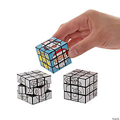Color Your Own Mini Christmas Puzzle Cubes