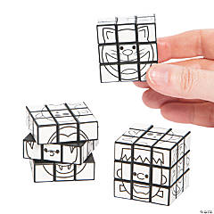 Color Your Own Mini Halloween Puzzle Cubes