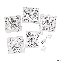 Color Your Own Mini Nativity Puzzles
