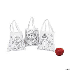 Color Your Own Mini Snowman Canvas Tote Bags