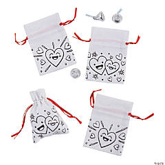 Color Your Own Mini Valentine's Day Canvas Drawstring Favor Bags