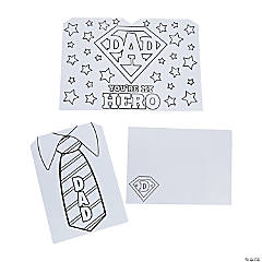 Color Your Own My Hero Father's Day Cards