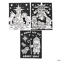 Color Your Own Nativity Fuzzy Posters - 24 Pc.