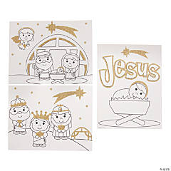 Color Your Own Nativity Glitter Poster Set