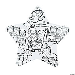 Color Your Own Nativity Star of Faith Posters