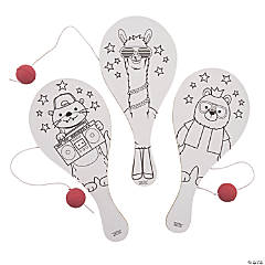 Color Your Own Party Animal Paddle Ball Games
