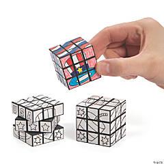 Color Your Own Patriotic Mini Puzzle Cubes