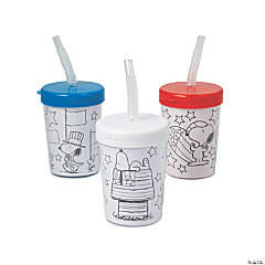Color Your Own Patriotic Peanuts® Cups with Lids & Straws