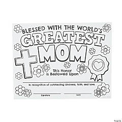 Color Your Own Religious Greatest Mom Certificates