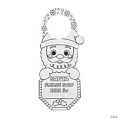 Color Your Own Santa Stop Here Doorknob Hangers
