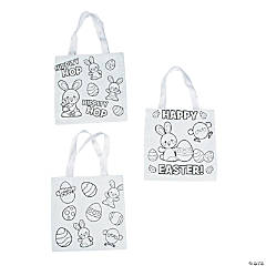 Color Your Own Small Easter Tote Bags