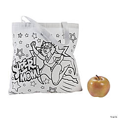 Color Your Own Super Mom Canvas Tote Bags
