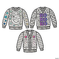 Color Your Own Ugly Sweater Cutouts