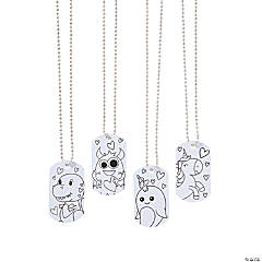 Color Your Own Valentine Dog Tag Necklaces