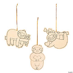 Color Your Own Valentine Sloth Ornaments