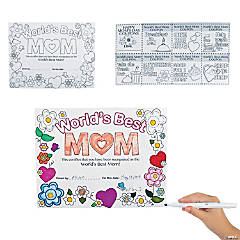 Color Your Own World's Best Mom Certificates
