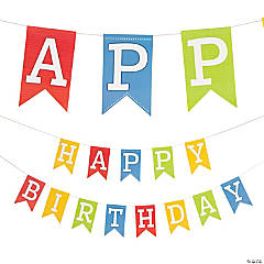 Colorful Happy Birthday Pennant Banner