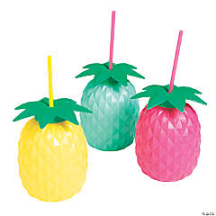 Colorful Pineapple Cups with Straws