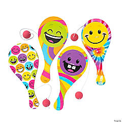 Colorful Smile Face Paddle Ball Games
