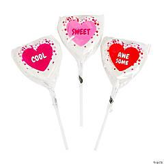 Confetti Heart-Shaped Conversation Heart Lollipops