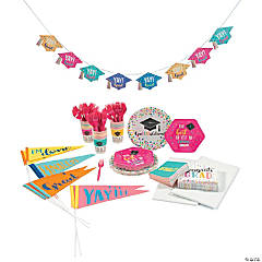 Congrats Girl Grad Tableware Kit for 24 Guests
