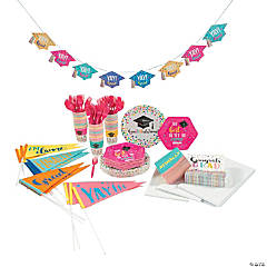 Congrats Girl Grad Tableware Kit for 48 Guests