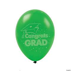 Congrats Grad Latex Balloons - Green