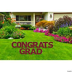 Congrats Grad Maroon Yard Letters Sign