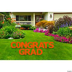 Congrats Grad Orange Yard Letters Sign