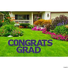 Congrats Grad Purple Yard Letters Sign
