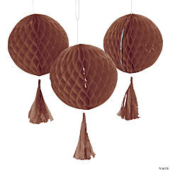 Copper Honeycomb Tissue Balls with Tassel - 12