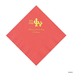 Coral Fiesta Personalized Napkins with Gold Foil - Luncheon