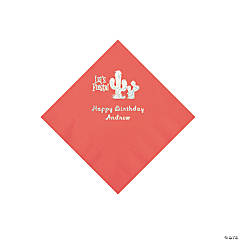 Coral Fiesta Personalized Napkins with Silver Foil - Beverage