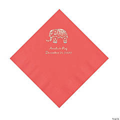 Coral Indian Wedding Personalized Napkins with Silver Foil - Luncheon