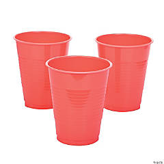Coral Plastic Cups - 20 Ct.