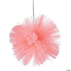 Coral Tulle Pom-Pom Decorations