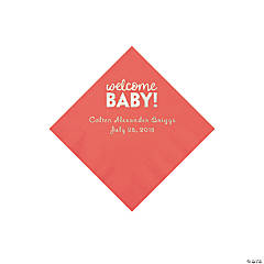 Coral Welcome Baby Personalized Napkins with Silver Foil - Beverage