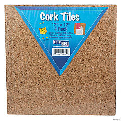 "Cork Tiles 12"" x 12"", 4 per Pack, 2 Packs"