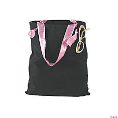 Cotton Black Tote with Satin Handles